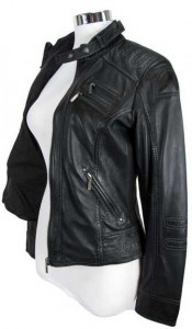 schwarze Lederjacke für Damen