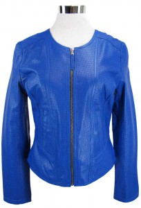 Damenlederjacke in blau