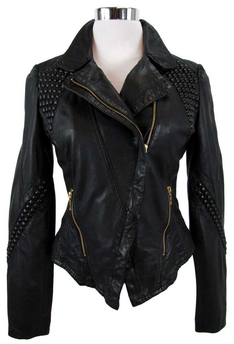 Schwarze Lederjacke aus der Freaky Nation Kollektion Sophia Thomalla