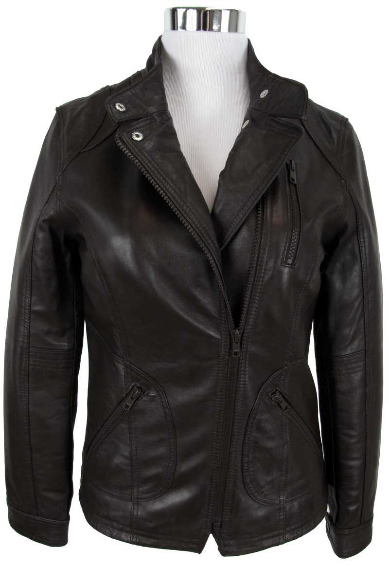 Braune Lederjacke für Damen