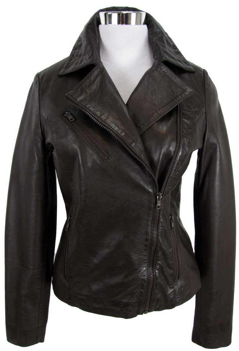 Braue Lederjacke für Damen mit asymmetrischem Reißverschluss