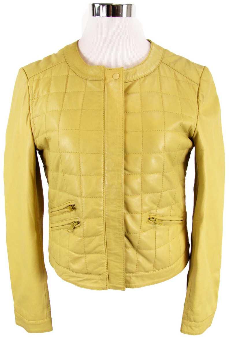 Gelbe Lederjacke Damen gesteppt
