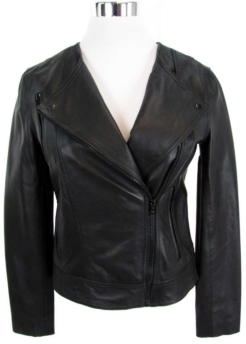 Schwarze, kurze und enge Lederjacke