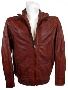 Lederjacke für Männer in brandy-rot von der Marke Pierre Cardin