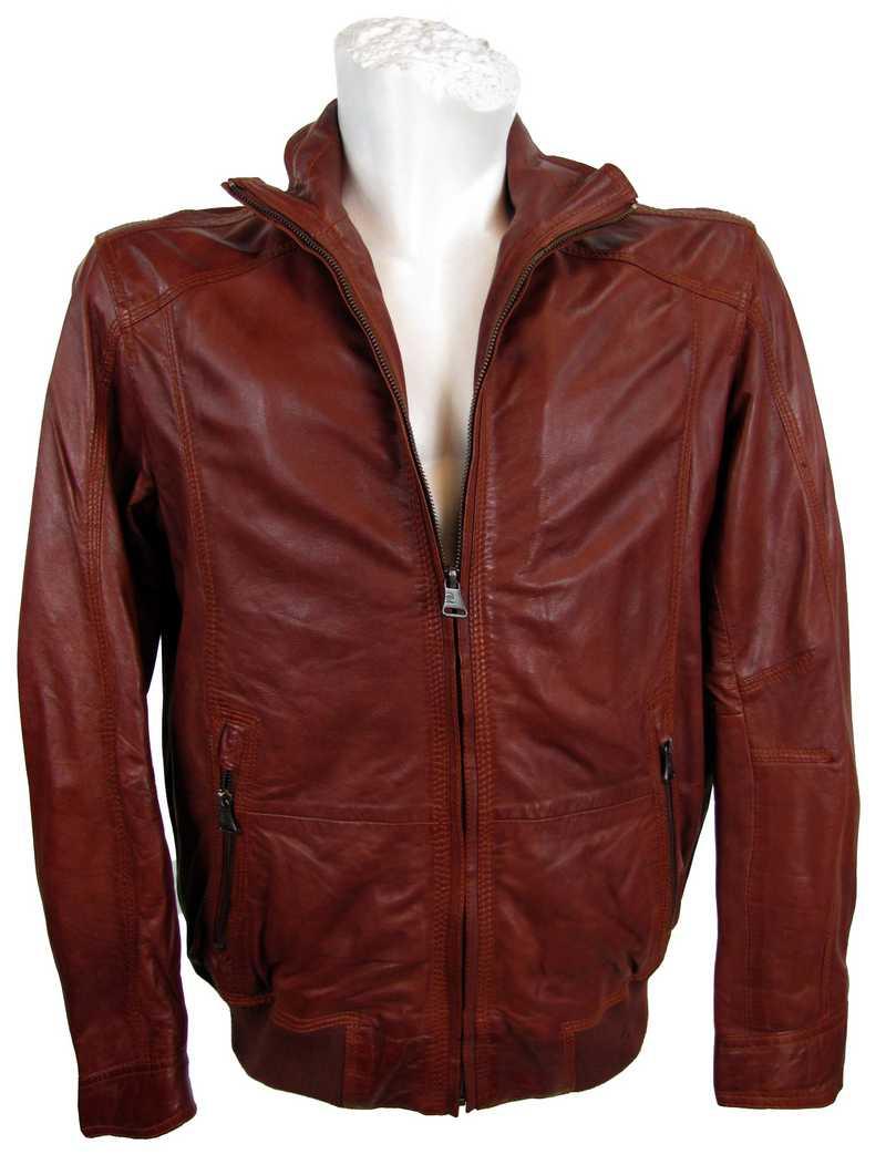 Lederjacke für Männer in rot von Pierre Cardin