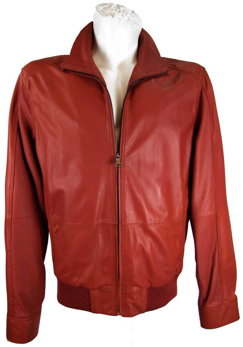 Chili-Rot Jacke aus Echtleder für Herren