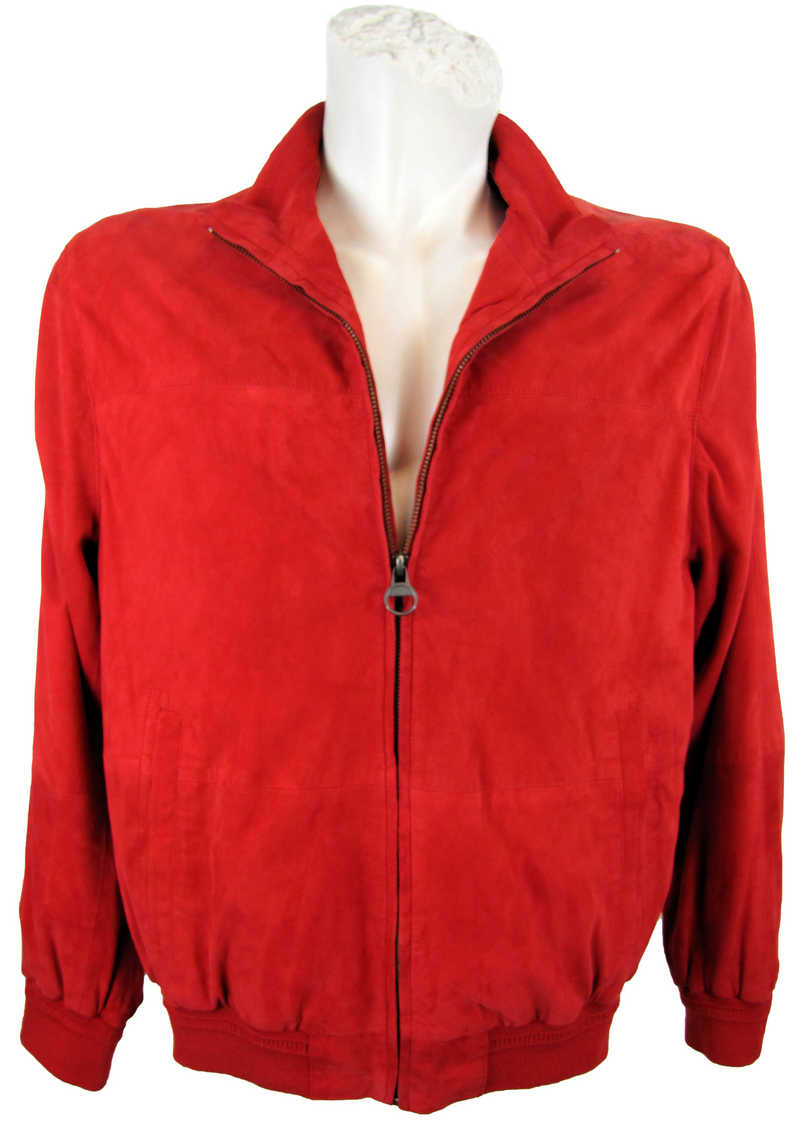 Herrenjacke aus Veloursleder in rot