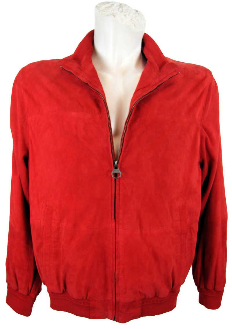 Herrenjacke aus Veloursleder in rot