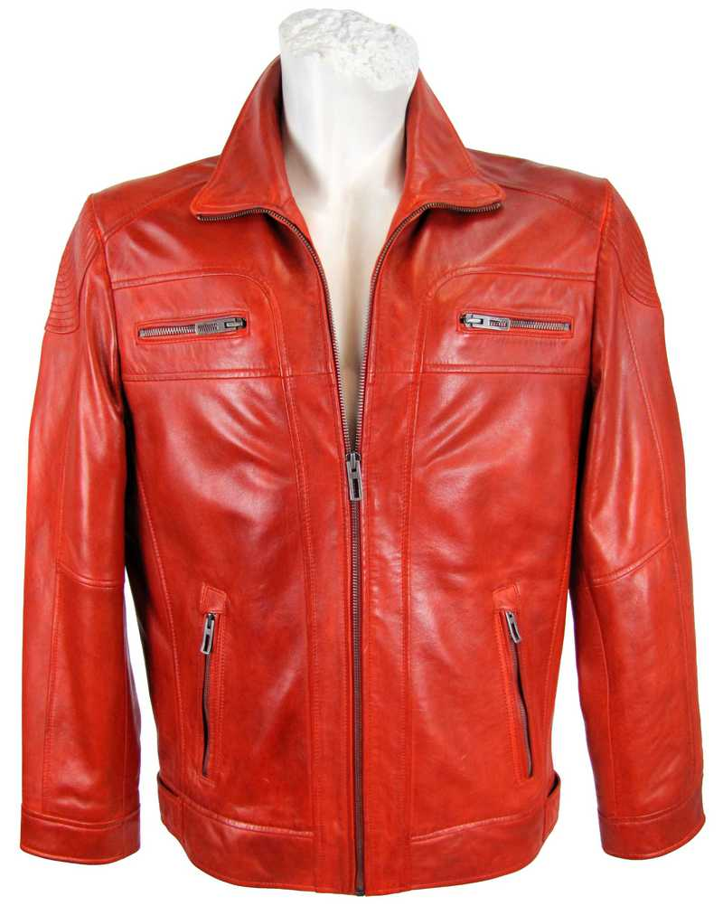 Herrenlederjacke in rot