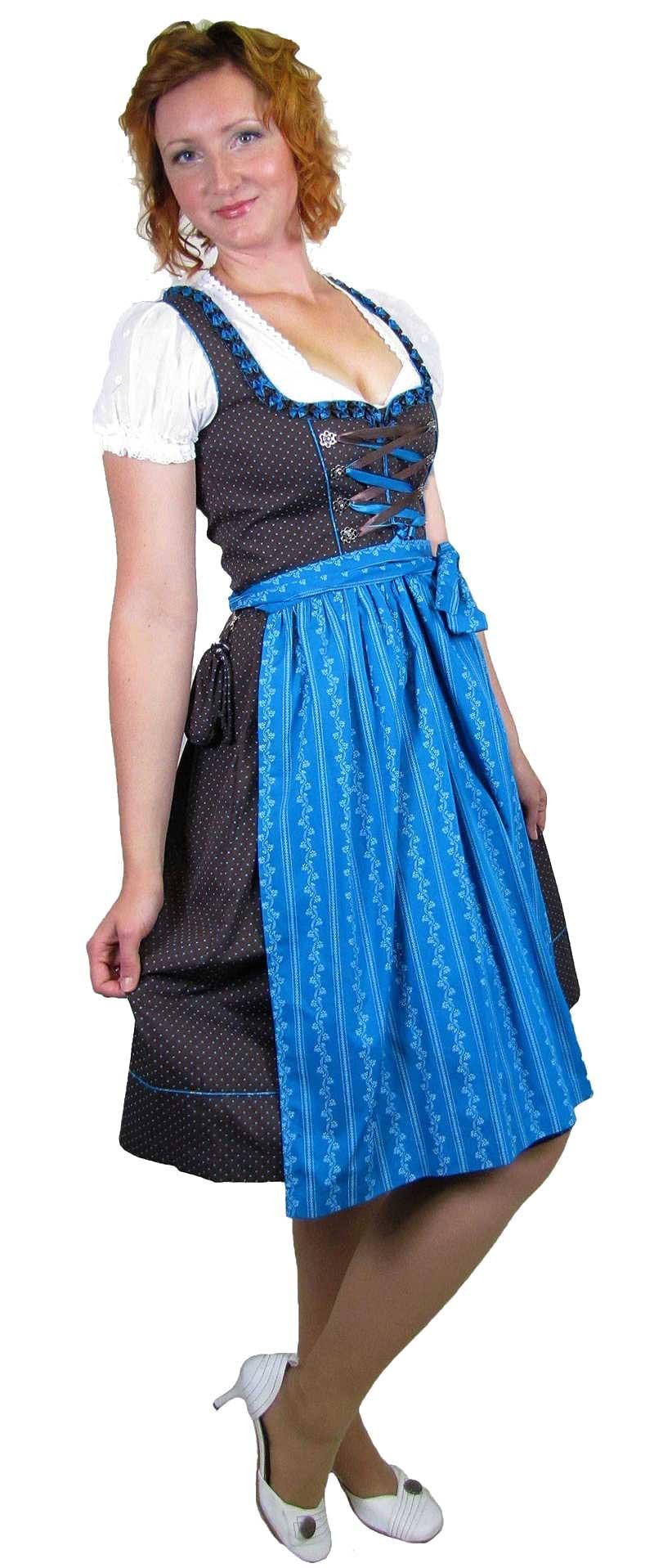 Country Life Damen Dirndl Trachten Set Kleid und Schürze mocca weiß türkis | 39,95 EUR
