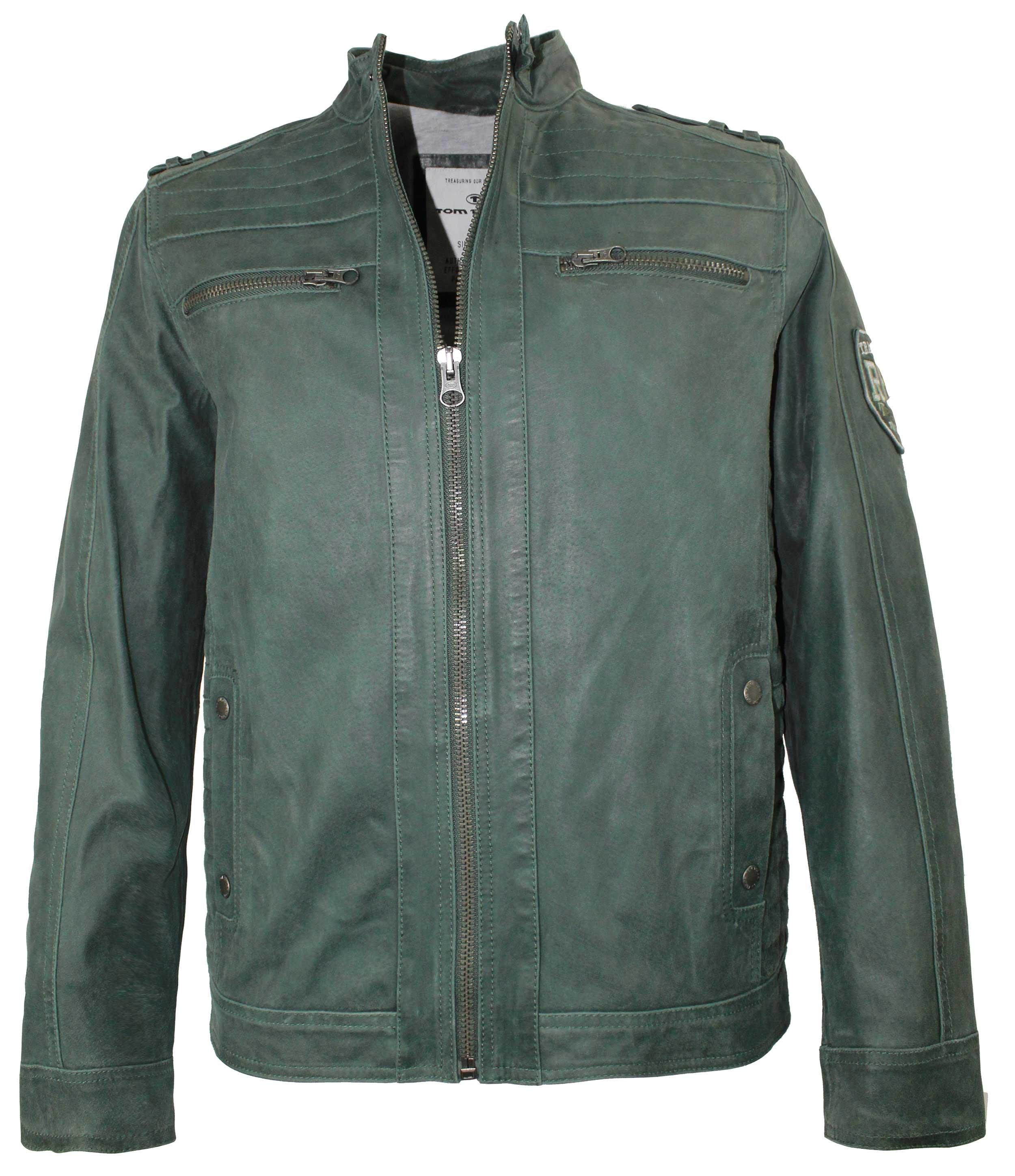 Details zu Tom Tailor Herren Lederjacke echtes Leder grün