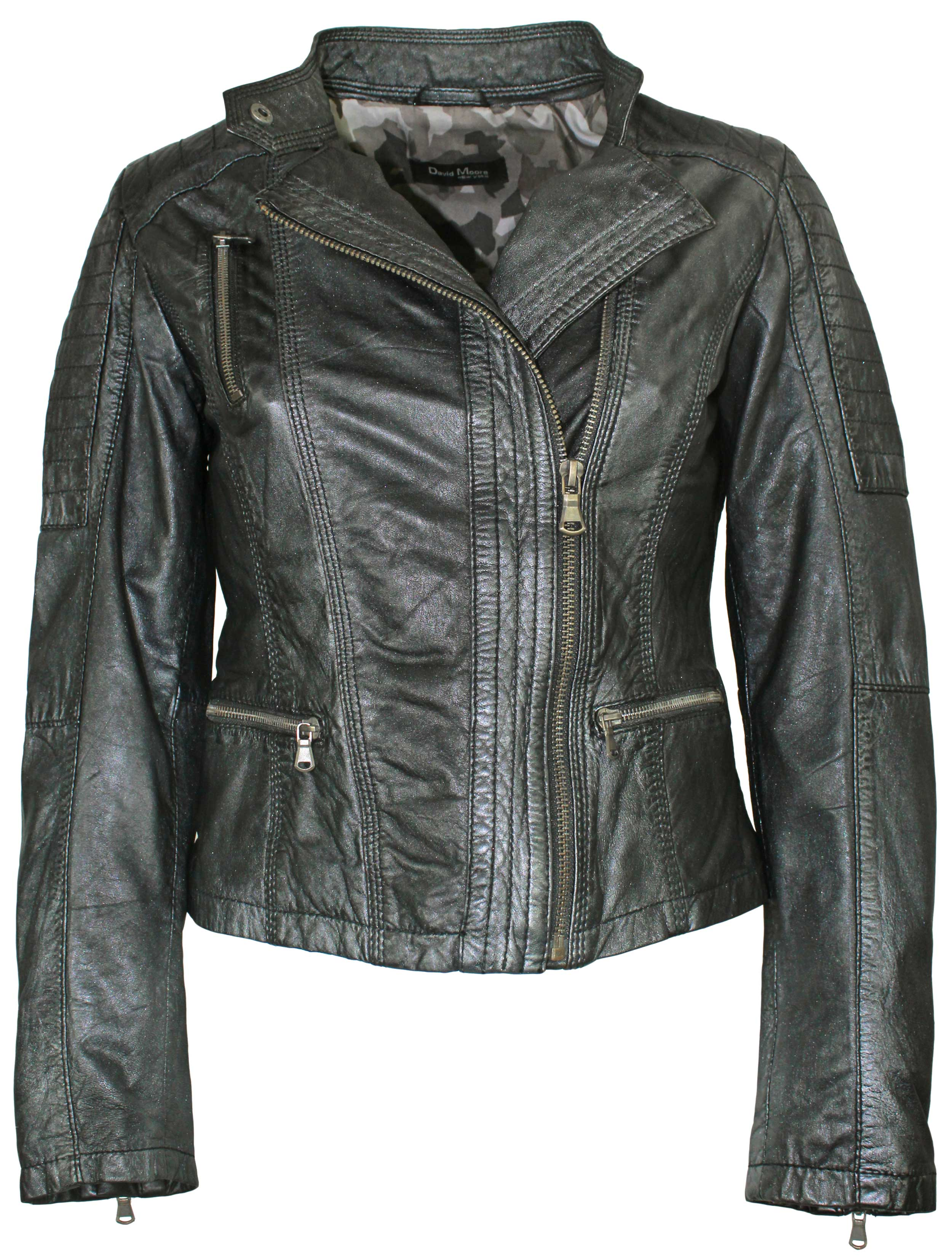 David Moore Damen Lederjacke Lammnappa schwarz silber | 99,95 EUR