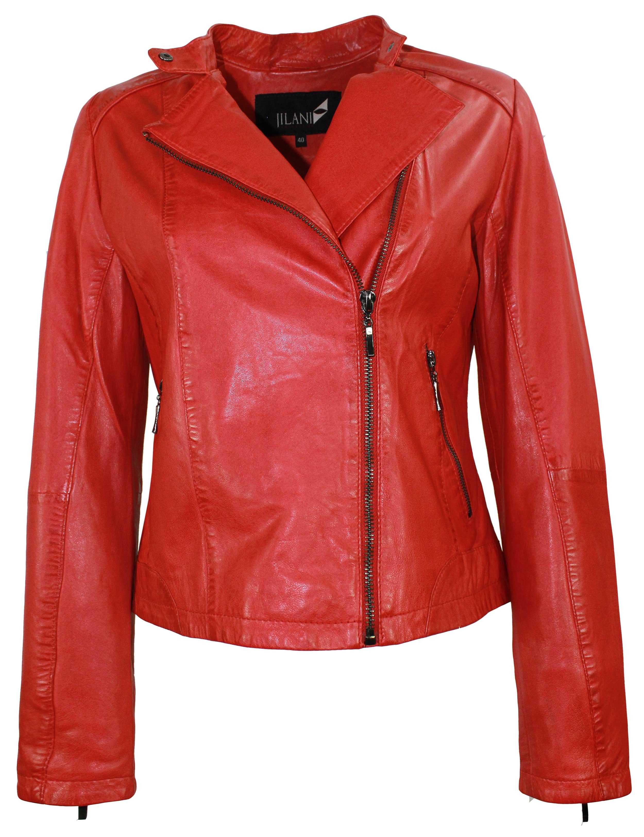 rote Damen Lederjacke Bikerjacke Bikerstyle aus Lammnappa