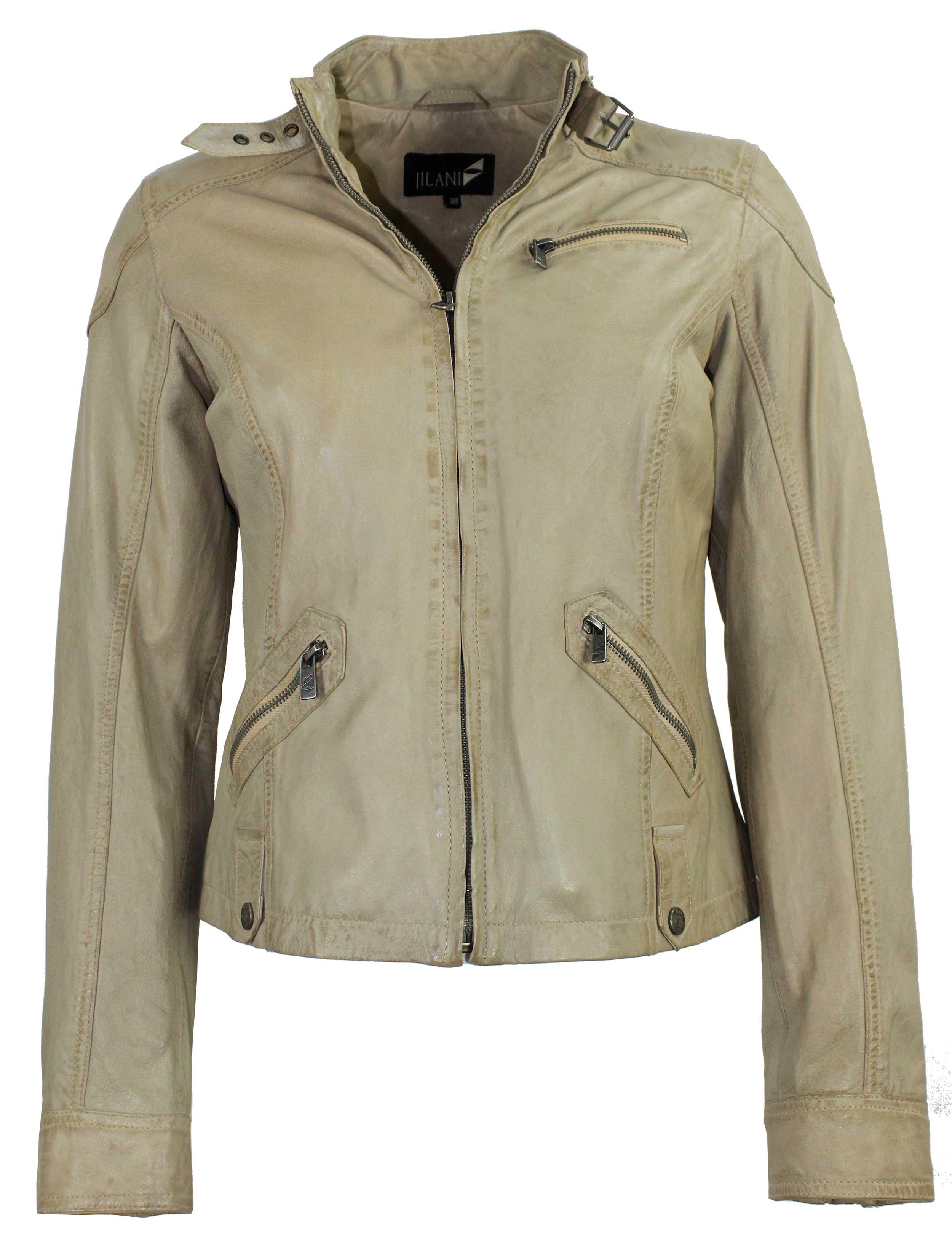 Jilani Damen Lederjacke Jacke Lammnappa beige Vintage | 99,95 EUR