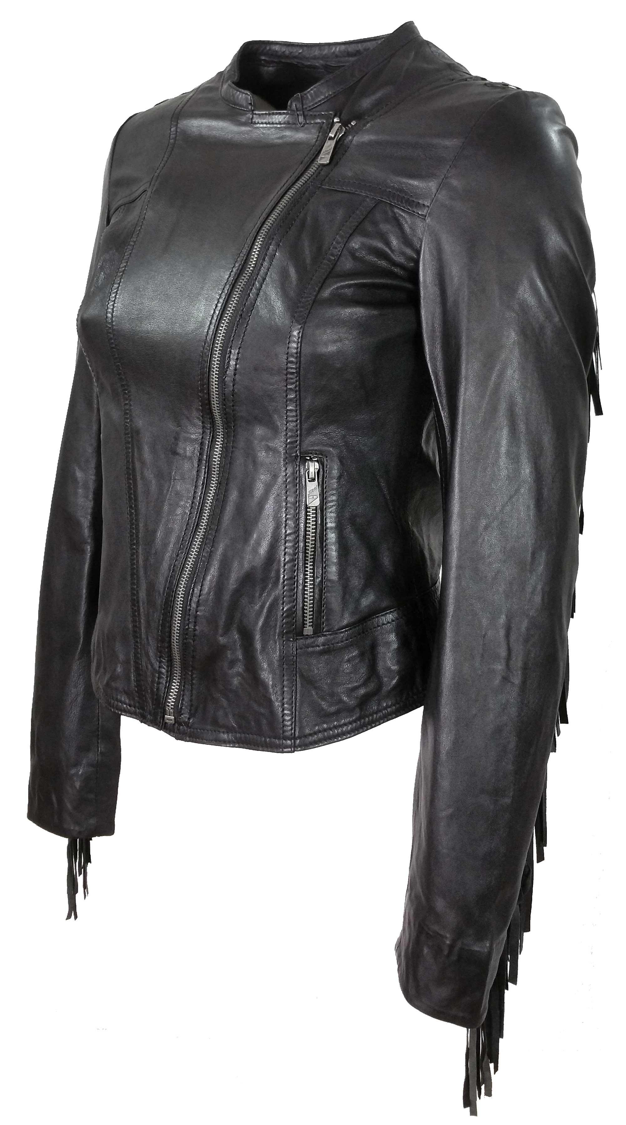 Jilani Damen Lederjacke Jacke Lammnappa schwarz