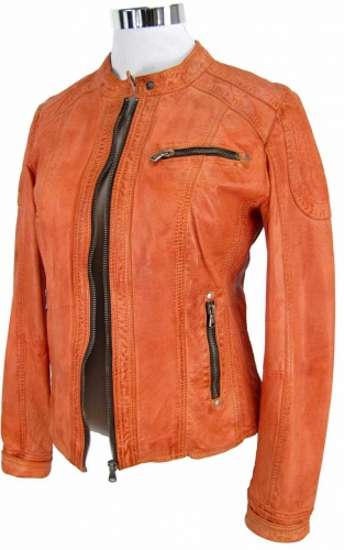 Damen lederjacke orange